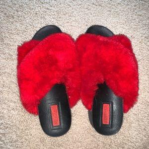 Red Fluffy Fur Sandals
